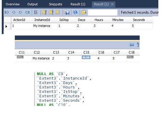 MySQL Bugs: #60652: Query returns BLOB type but no BLOBs are