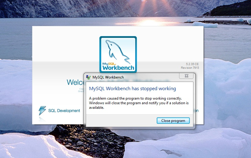 MySQL Bugs: #61969: MySQL workbench has stopped working