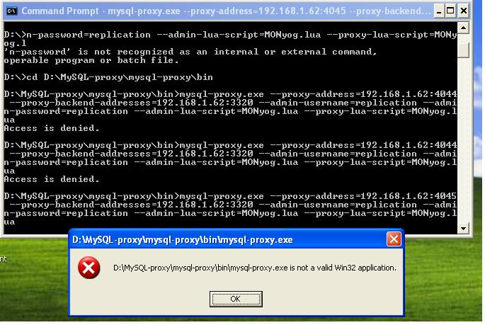 MySQL Bugs: #65654: MySQL proxy throws an error - Not a
