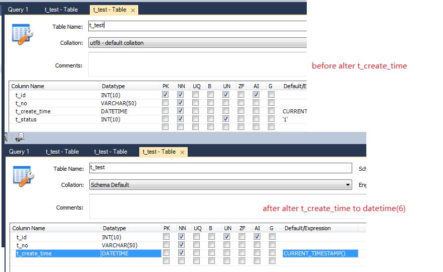 MySQL Bugs: #81183: datetime acuate to milliseconds, alter