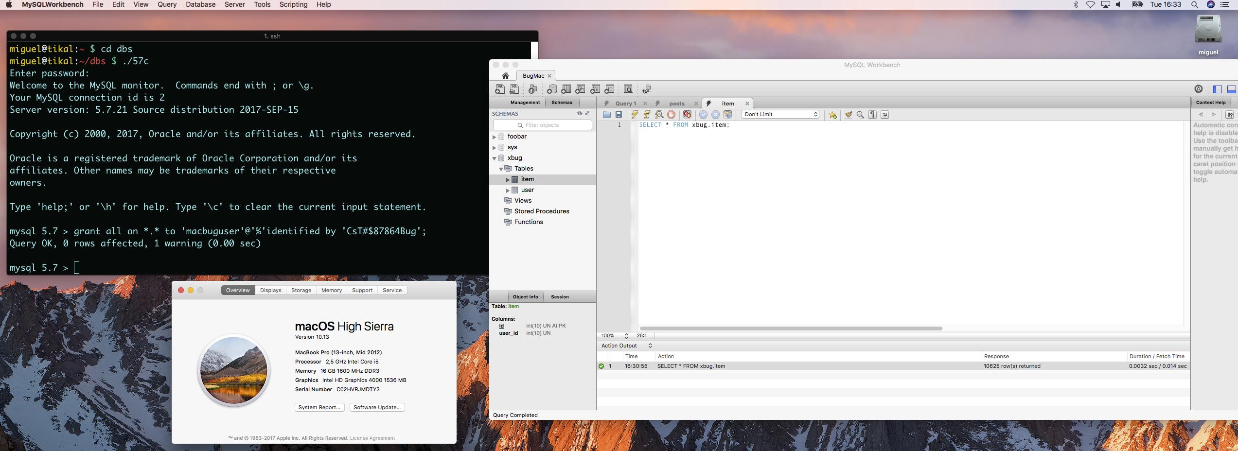 MySQL Bugs: #87862: MySQL does not work on MacOS High Sierra