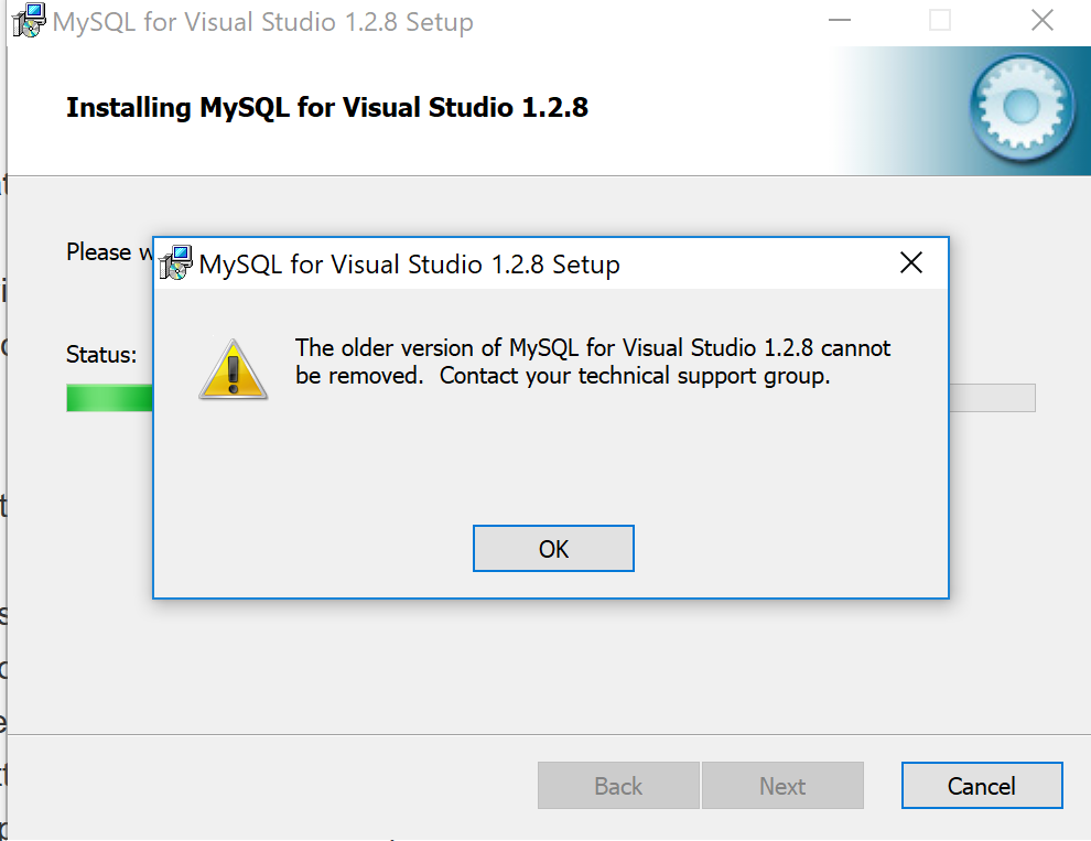 MySQL Bugs: #92527: Cannot uninstall MYSQL for visual studio