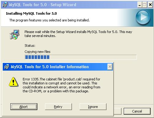 mysql bugs: #29204: error product.cab